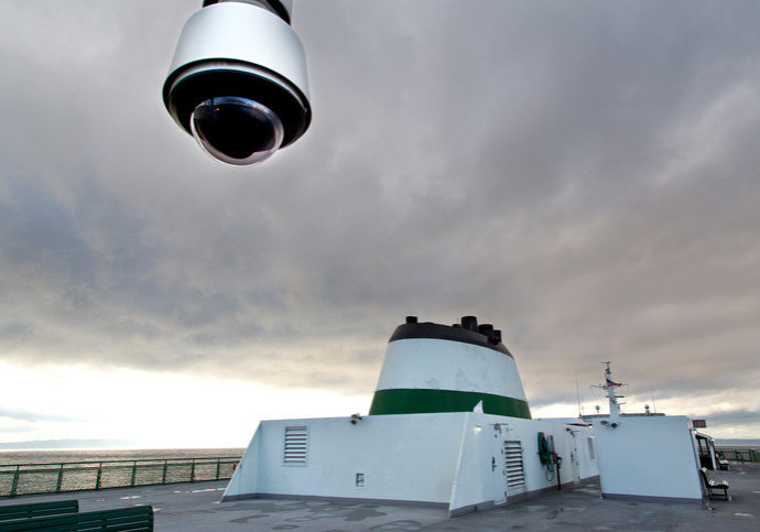Surveillance camera on a ferry
